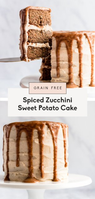 collage of a healthy zucchini sweet potato cake