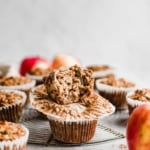 almond butter apple cinnamon baked oatmeal cups in a stack