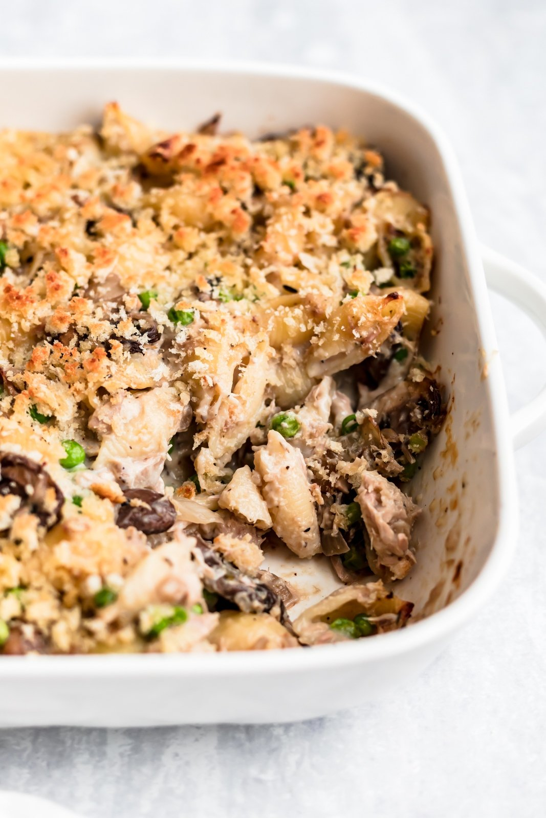 healthy tuna noodle casserole in a pan
