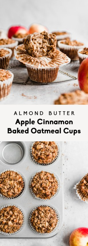 collage of apple cinnamon baked oatmeal cups