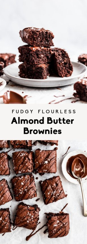 collage of flourless almond butter brownies with text overlay