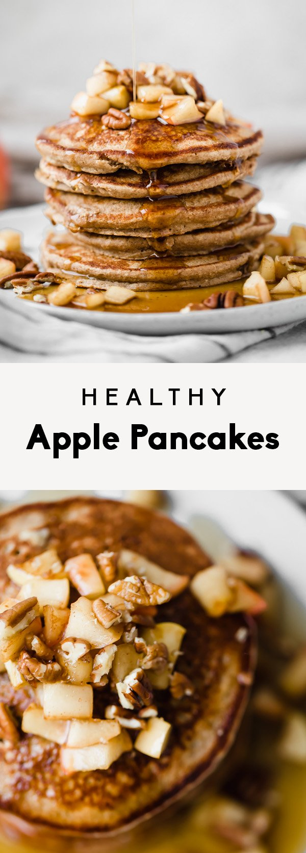 collage of healthy apple pancakes