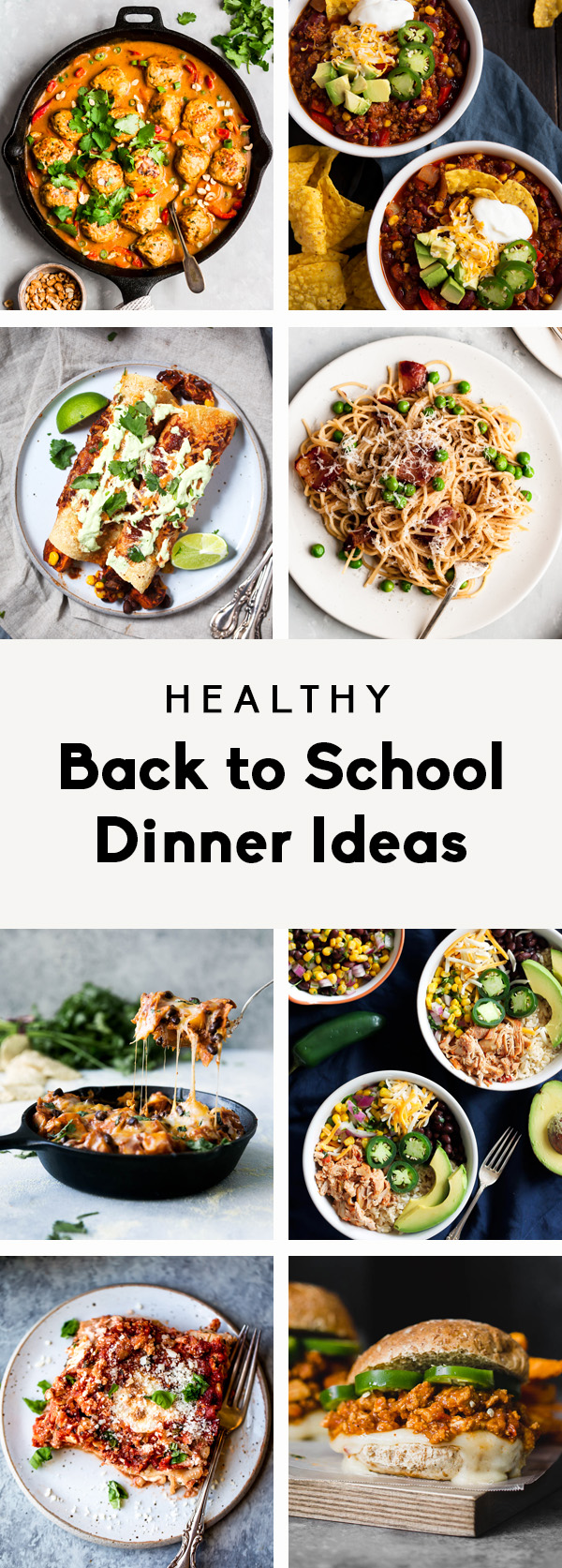collage of healthy back to school dinner ideas