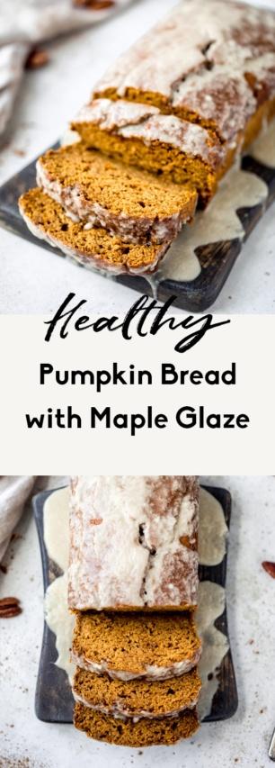 collage of healthy pumpkin bread