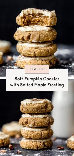 collage of healthy pumpkin cookies