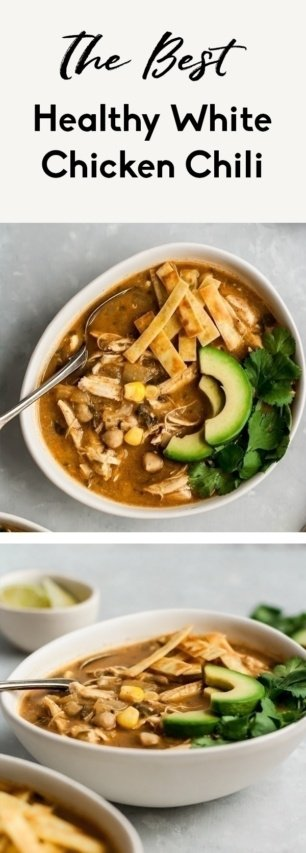 collage of healthy white chicken chili