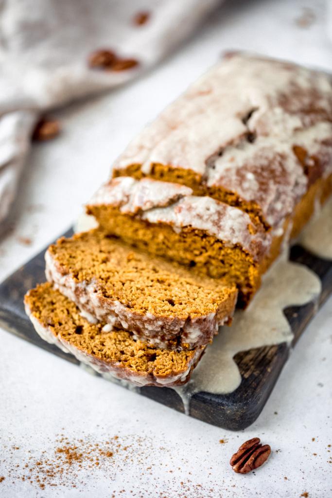 healthy pumpkin bread with a maple glaze
