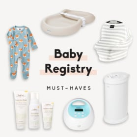 collage of baby registry must-haves
