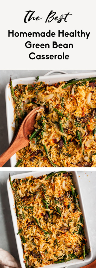 collage of healthy green bean casserole