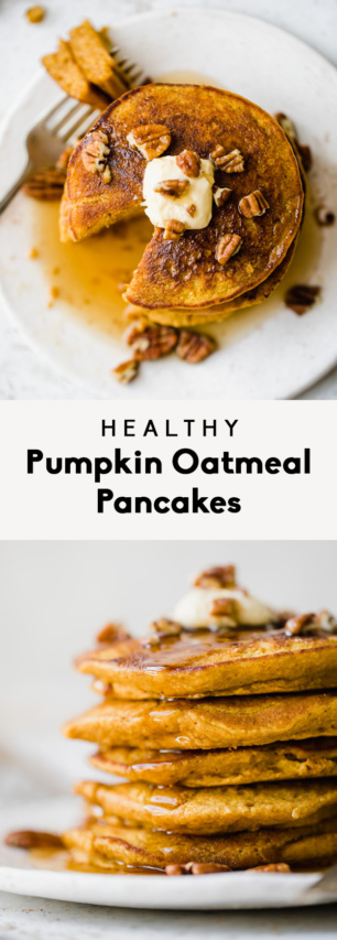 collage of healthy pumpkin oatmeal pancakes