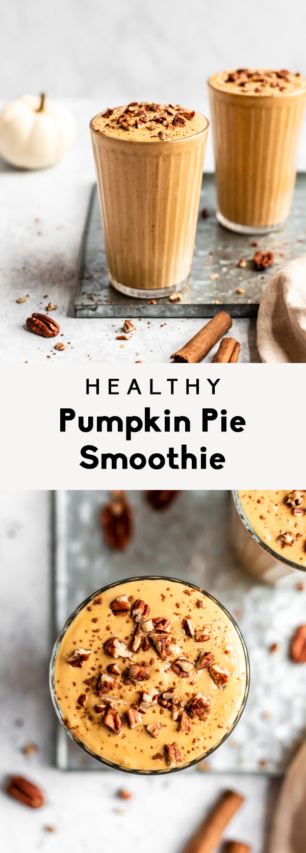 collage of healthy pumpkin pie smoothie
