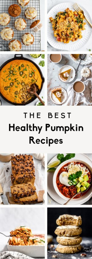 collage of healthy pumpkin recipes