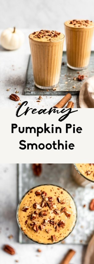 collage of healthy pumpkin smoothie recipe
