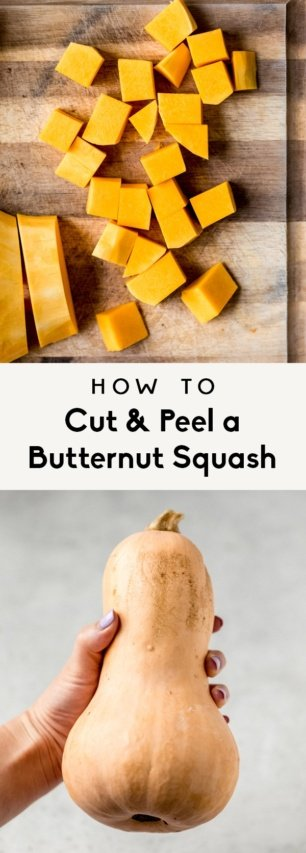 collage of how to cut a butternut squash