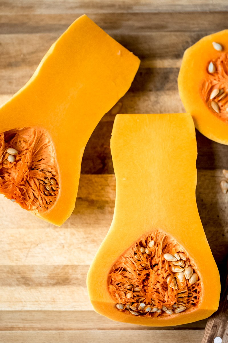 butternut squash cut in half with seeds
