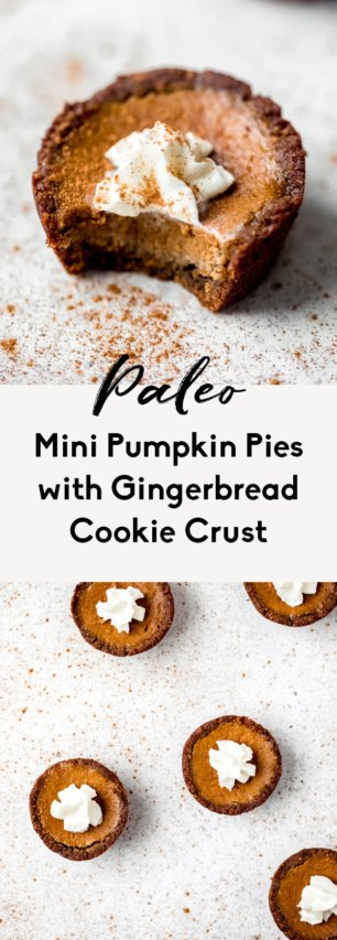 collage of mini paleo pumpkin pies
