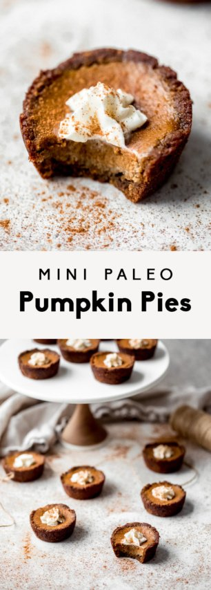 collage of mini paleo pumpkin pies