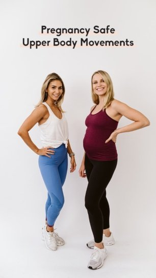 two women doing pregnancy safe upper body movements