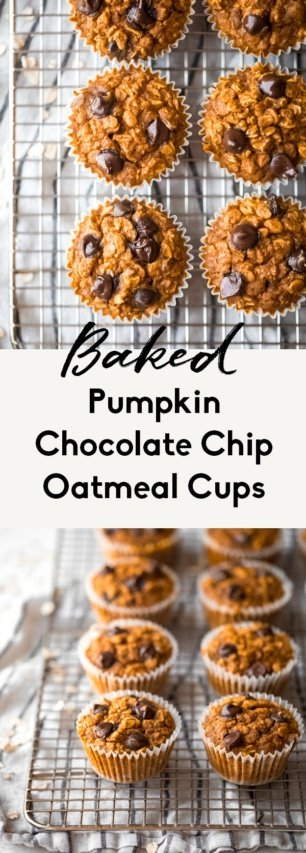 collage of baked pumpkin oatmeal cups