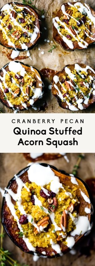 collage of quinoa stuffed acorn squash