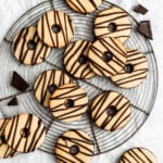 paleo fudge striped shortbread cookies on a wire rack