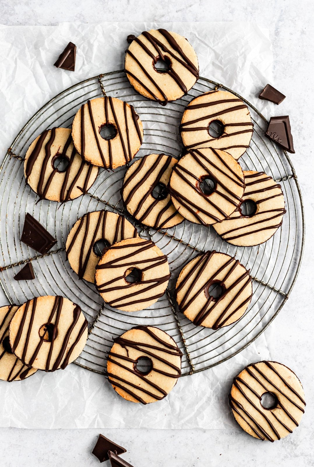 gluten free shortbread fudge striped cookies on a wire rack