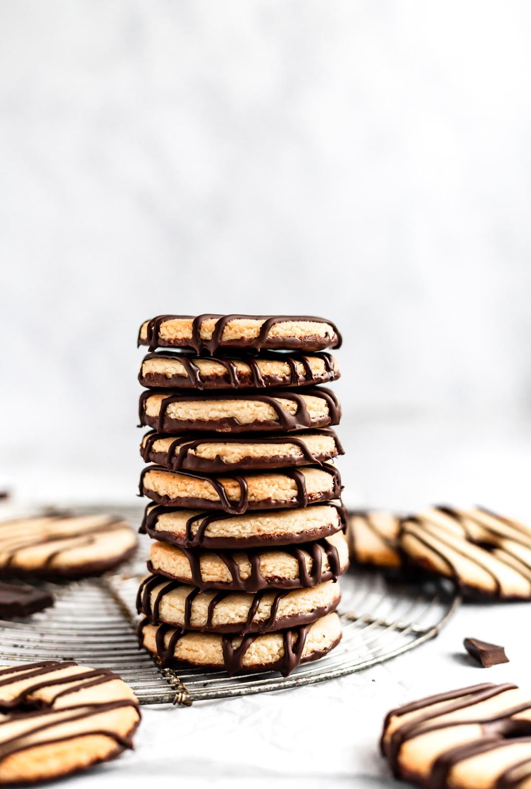 stack of paleo fudge striped shortbread cookies