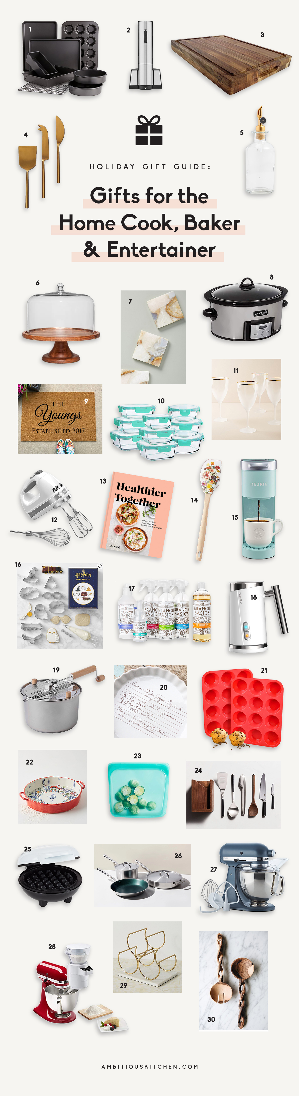 collage of gifts for home cooks, bakers and entertainers