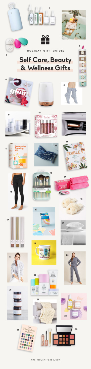 collage of beauty, wellness and self care gifts