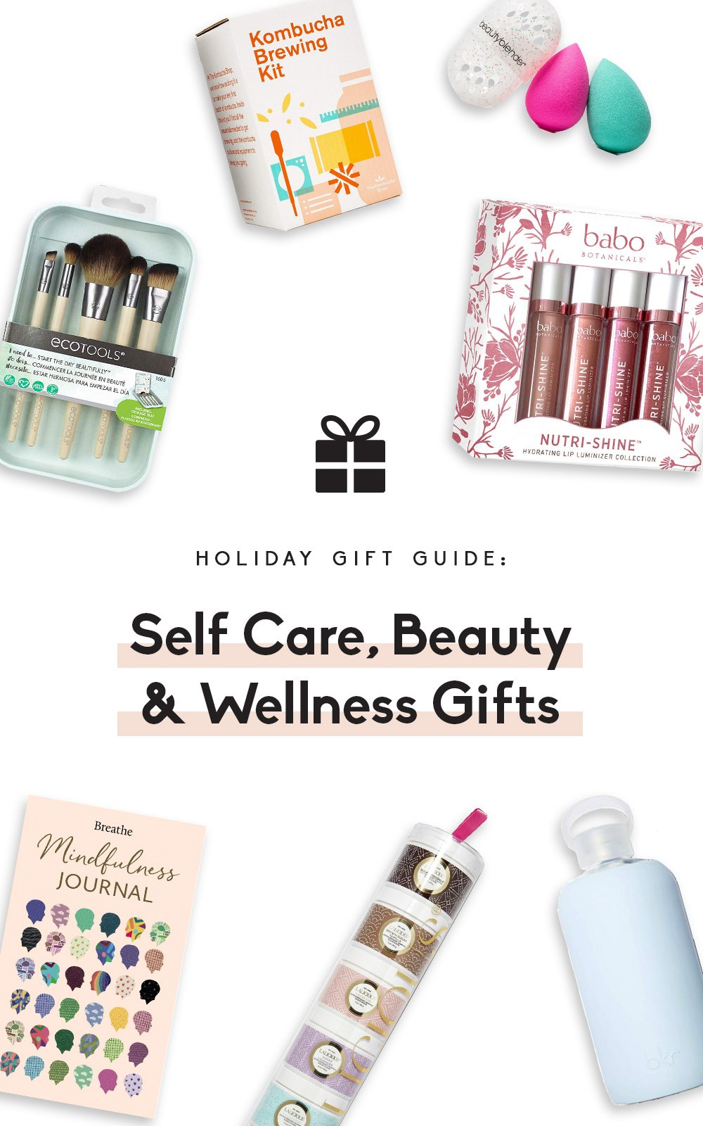 collage of self care, beauty and wellness gifts