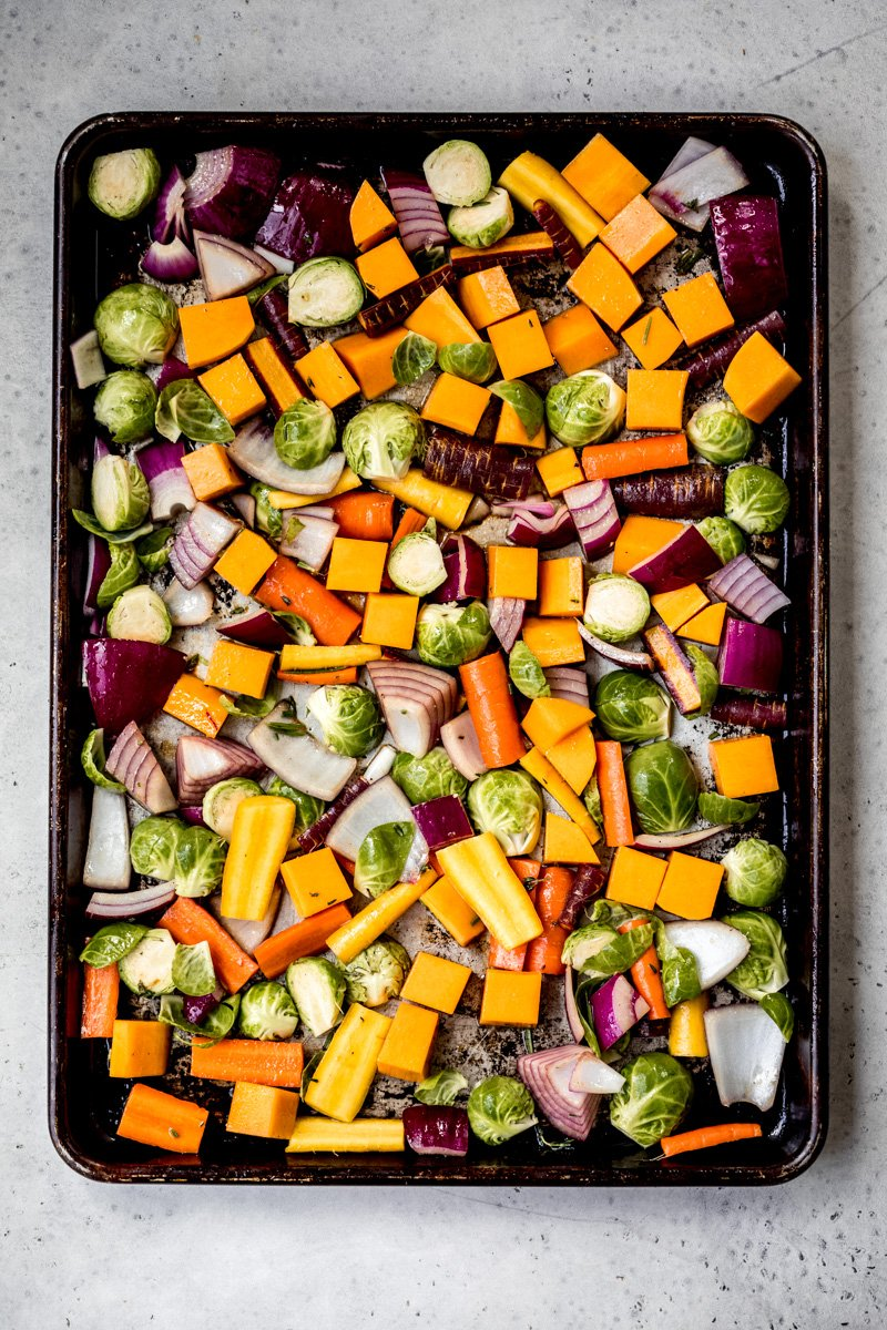 rainbow vegetables on a sheet pan ready to roast