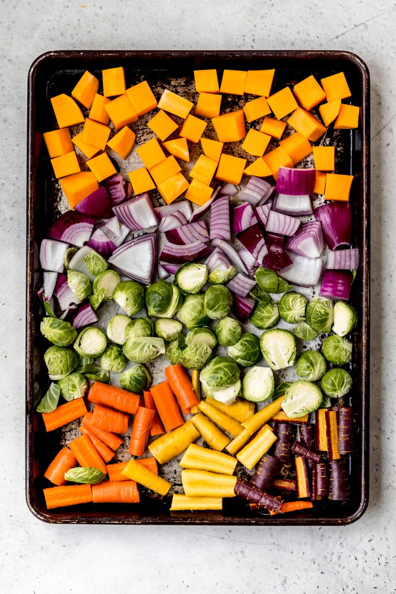 vegetables on a sheet pan