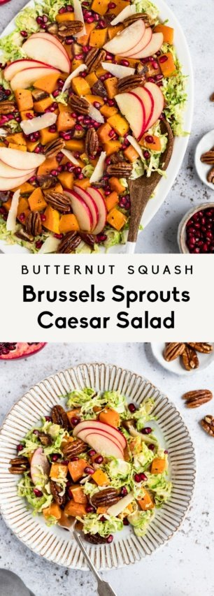 collage of brussels sprouts caesar salad