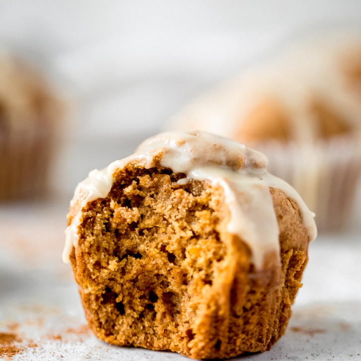 chai-spiced butternut squash muffin with a bite taken out