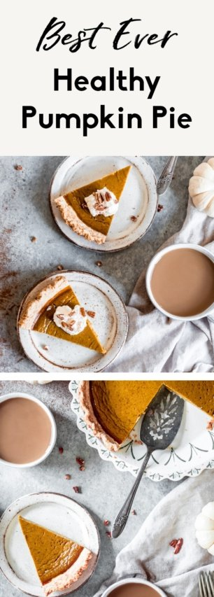 collage of healthy pumpkin pie