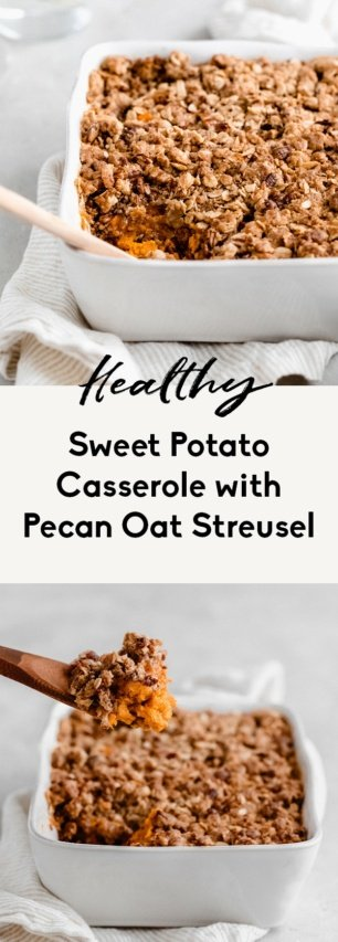 collage of healthy sweet potato casserole