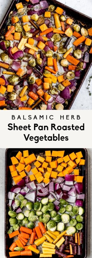 collage of sheet pan roasted vegetables