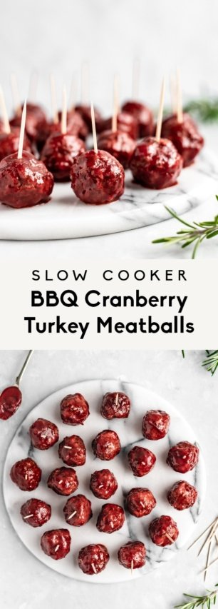 collage of slow cooker bbq cranberry turkey meatballs