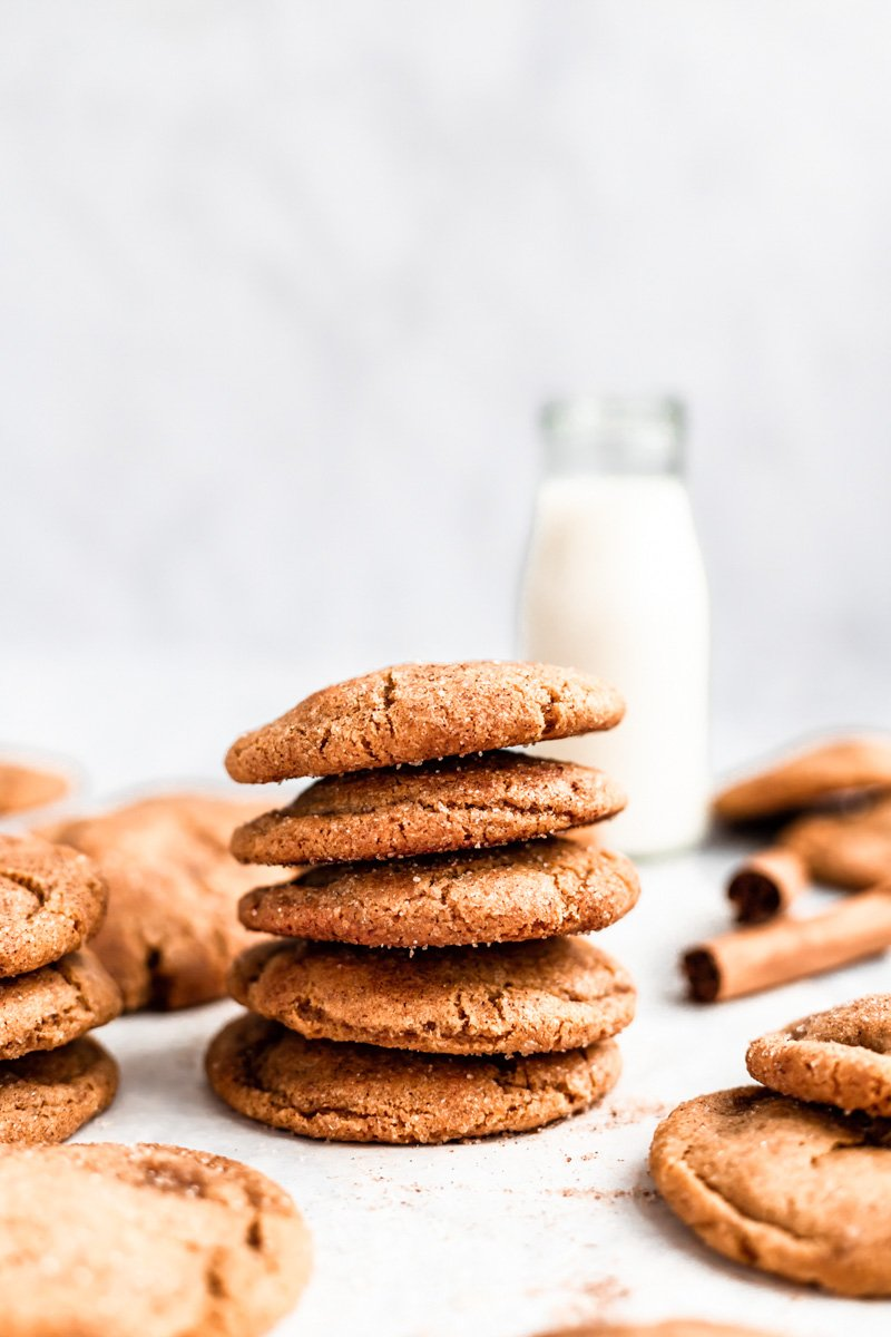 stack of brown butter snickerdoodle cookies