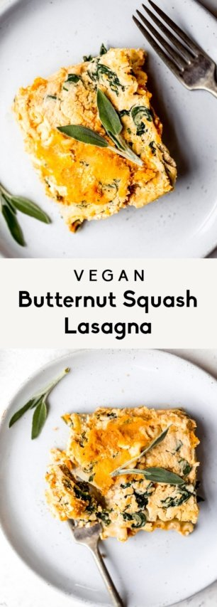 collage of vegan lasagna on a plate