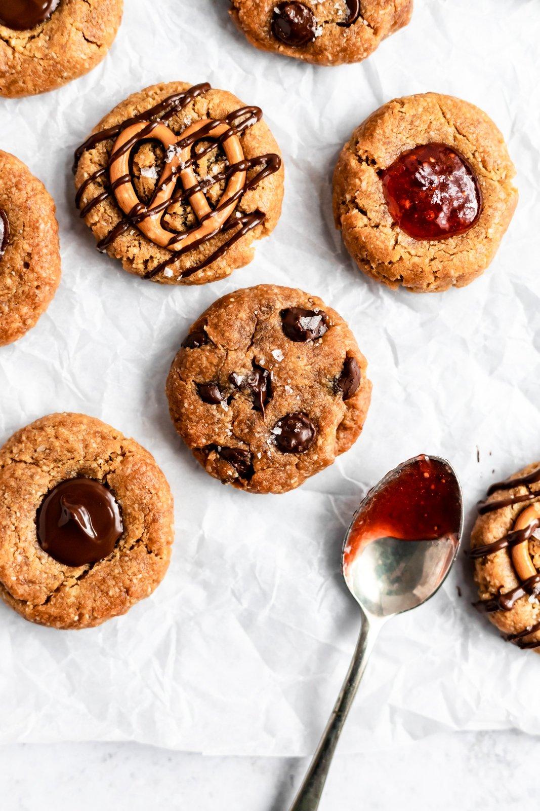 vegan peanut butter cookies on parchment paper