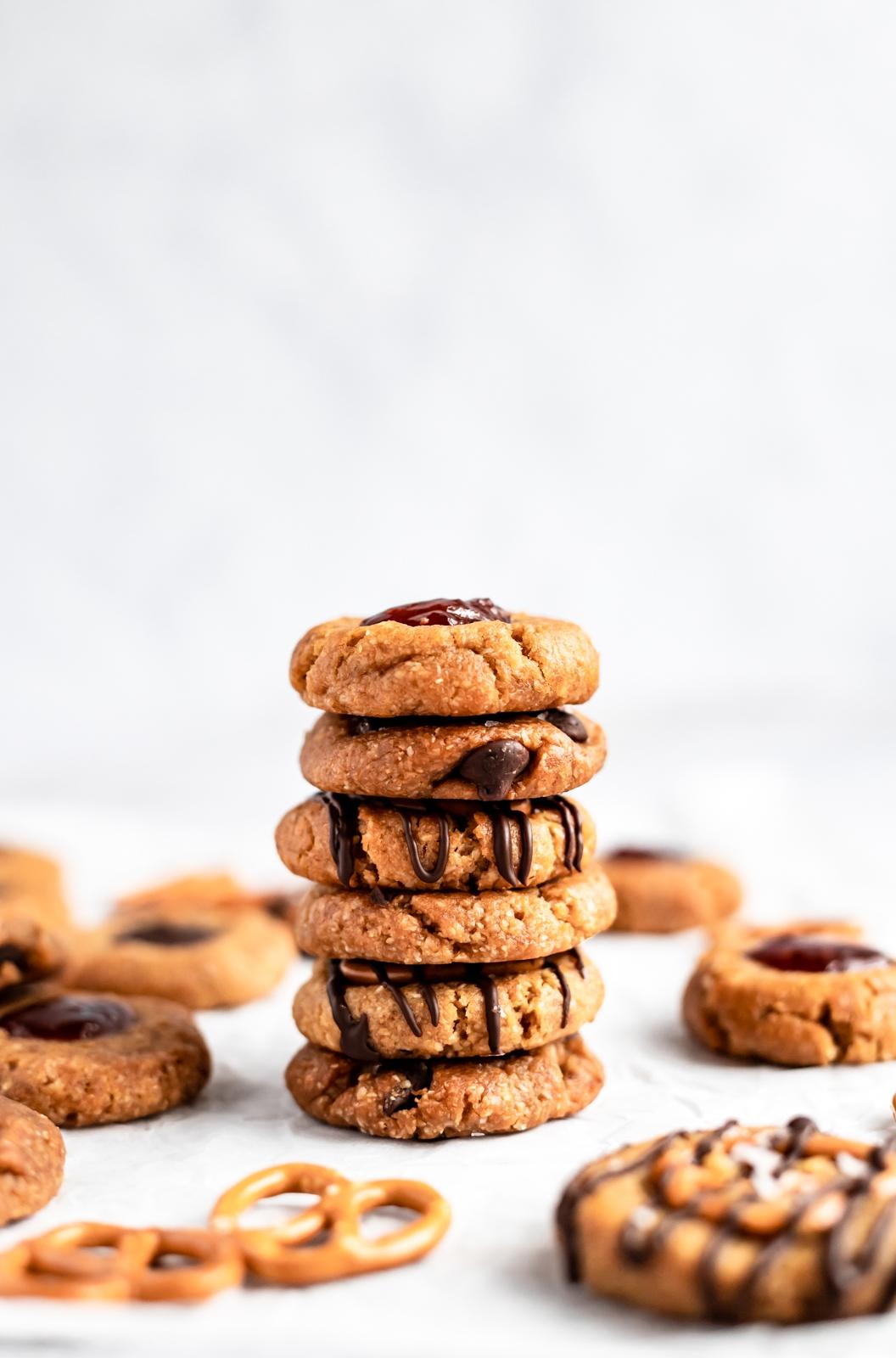 vegan peanut butter cookies stacked
