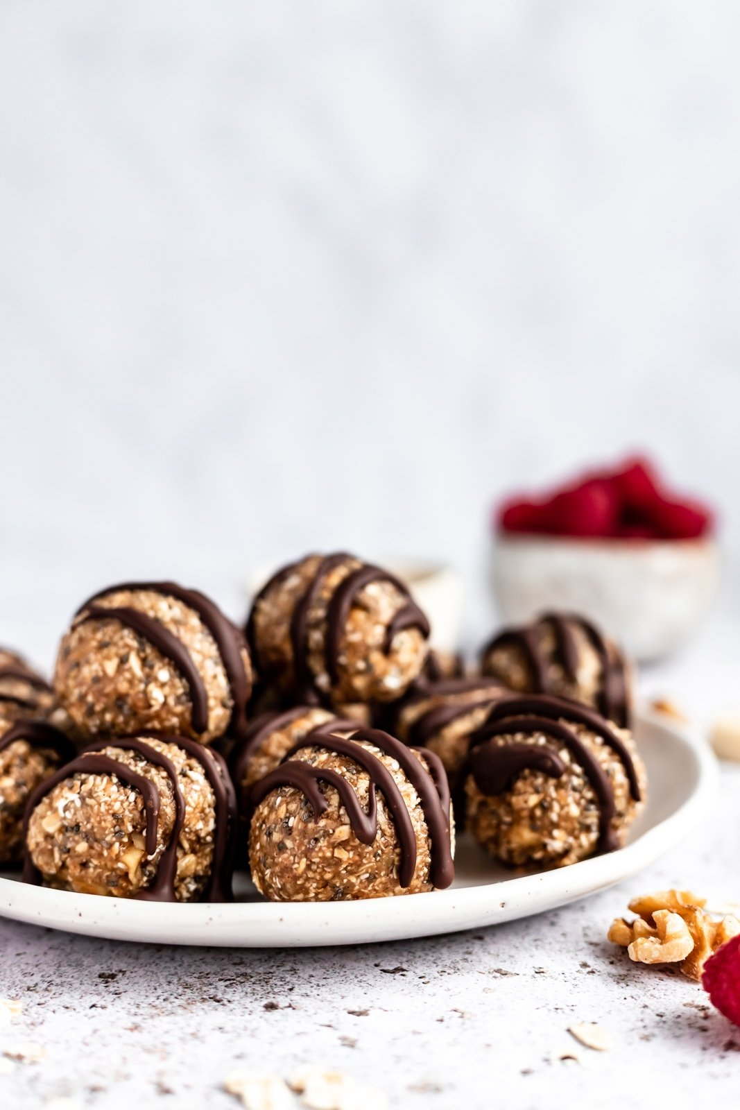easy no bake chia banana bread energy bites on a plate