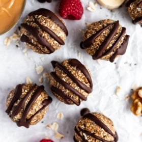 chia banana bread energy bites drizzled with chocolate