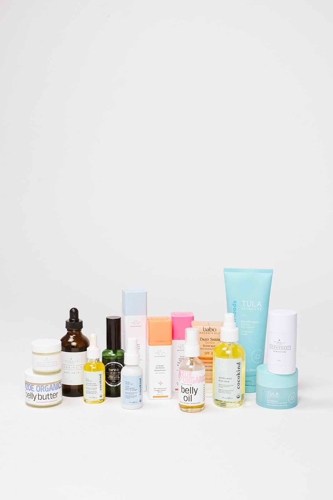 pregnancy skincare items in a line