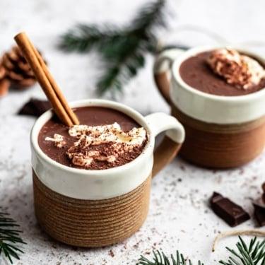 healthy vegan hot chocolate in two mugs