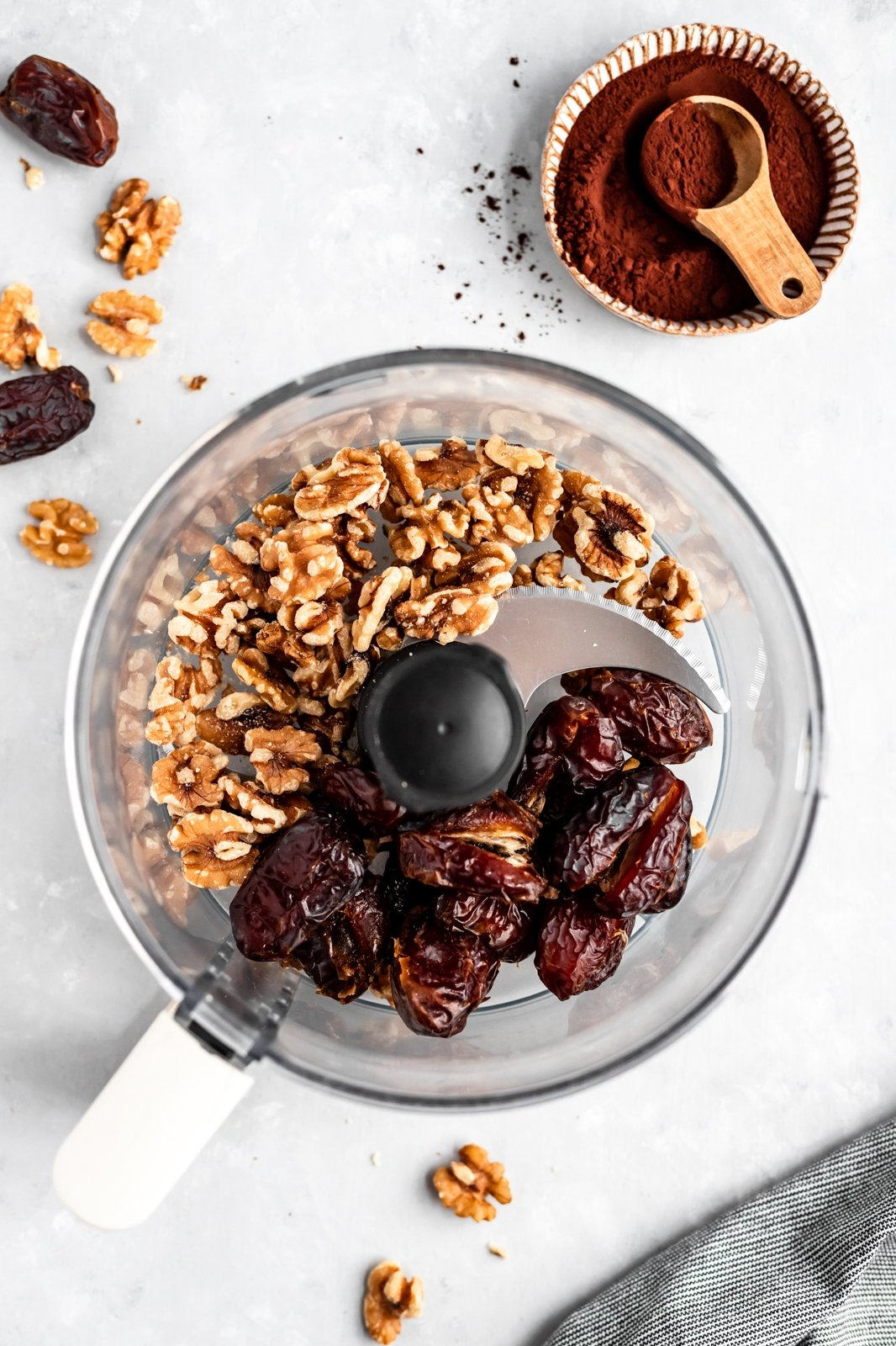 dates and walnuts in a food processor