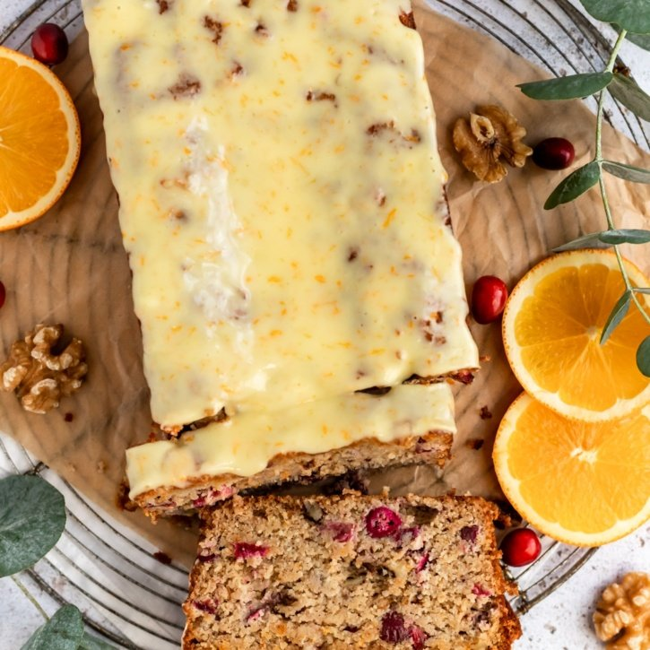 paleo cranberry orange bread on a serving tray