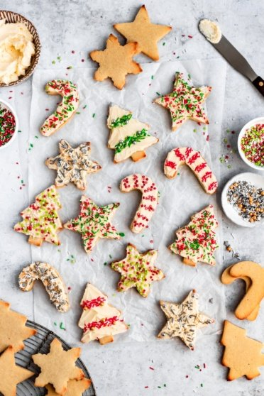 soft cut out sugar cookies made with almond flour on a baking sheet