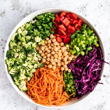 chopped thai broccoli salad ingredients in a bowl
